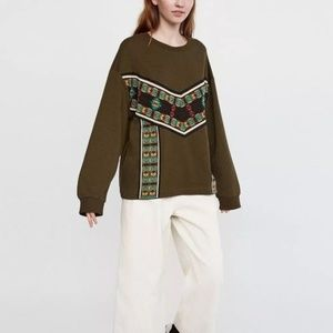Zara Embroidered Ethnic Khaki Aztec Sweatshirt Top